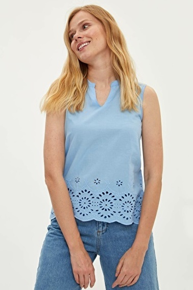 DeFacto Kısa Kollu Bluz Mavi